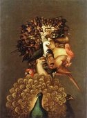 Allegories of the Classical elements, by Giuseppe Arcimboldo. From left to right and from up to down: air, fire, earth and water