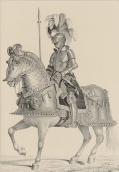 Equestrian armour of Emperor Charles V. Piece drawn from the collection of the Royal Armoury of Madrid