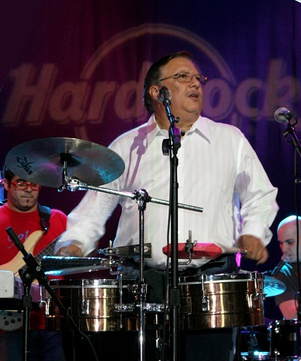 Sandoval playing the timbales
