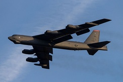 A B-52 taking off from Tinker AFB