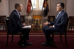 Brian Williams interviews Mitt Romney on July 25, 2012, during Romney's presidential campaign.