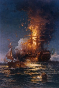 The USS Philadelphia, heavy frigate of the United States Navy, burning at the Second Battle of Tripoli Harbor during the First Barbary War in 1804