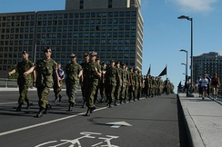 Members of The Cameron Highlanders of Ottawa, an infantry regiment of the Primary Reserve, march through Ottawa, Ontario