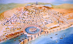 Modern reconstruction of Punic Carthage. The circular harbor at the front is the Cothon, the military port of Carthage, where all of Carthage's warships (Biremes) were anchored