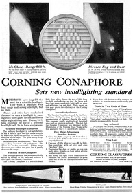 1917 advertisement for the Corning Conaphore headlamp lens shown above