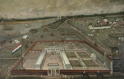 Trade lodge of the VOC in Hooghly, Bengal, by Hendrik van Schuylenburgh, 1665