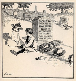 """On Decoration Day"" Political cartoon c. 1900 by John T. McCutcheon. Caption: ""You bet I'm goin' to be a soldier, too, like my Uncle David, when I grow up."""