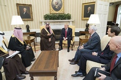 Pence and Trump with Crown Prince of Saudi Arabia Mohammad bin Salman on March 14, 2017