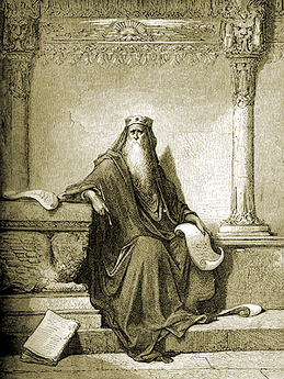 Solomon writing Proverbs (Gustave Doré)
