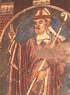 12th century wall-painting of St Cuthbert in Durham Cathedral