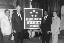 Commemorative sign introduced in 1993. Though the system was established during Dwight D. Eisenhower's presidency, the five stars commemorate his rank as General of the Army during World War II.