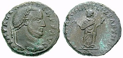 Domitius Alexander on a follis. On the reverse, the personification of Carthage, his capital.