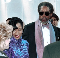 Freeman and daughter Morgana Freeman at the 1990 Academy Awards