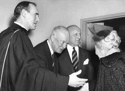 Rev. Dr. George Docherty (left) and President Eisenhower (second from left) on the morning of February 7, 1954, at the New York Avenue Presbyterian Church