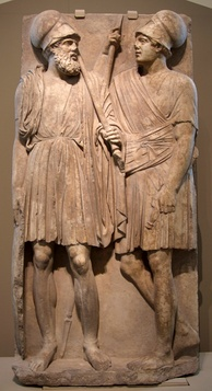 Stele with two Hellenistic soldiers of the Bosporan Kingdom; from Taman peninsula (Yubileynoe), southern Russia, 3rd quarter of the 4th century BC; marble, Pushkin Museum