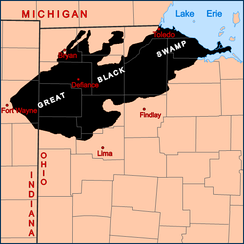 The general extent of the Great Black Swamp prior to the 19th century