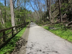 The Grist Mill Trail connects Ellicott City to Elkridge for pedestrians and cyclists.
