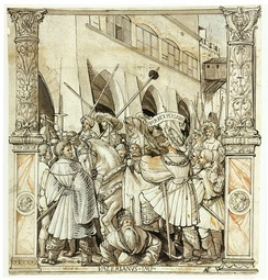 The humiliation of Emperor Valerian by king Shapur I of Persia (260) passed into European cultural memory as an instance of the reversals of Fortuna. In Hans Holbein's pen-and-ink drawing (1521), the universal lesson is brought home by its contemporary setting.