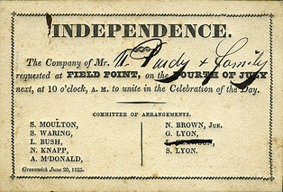 An 1825 invitation to an Independence Day celebration