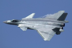 A PLA air force Chengdu J-20 stealth fighter aircraft