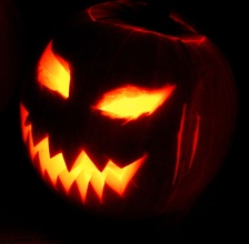 A jack-o'-lantern, one of the symbols of Halloween