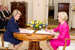 Bishop being sworn in as Foreign Minister by Quentin Bryce at Government House in 2013
