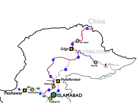 Highlighted in red is the route of National Highway 35, which is to be completely rebuilt and upgraded under the CPEC agreement. Highlighted in blue is the 175 km (109 mi) road between Gilgit and Skardu which is to be upgraded to a four-lane highway.