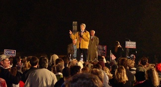 John Kerry, Walter Mondale and Max Cleland in Minneapolis, October 21, 2004