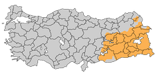 Areas in Turkey with a Kurdish-majority population.[330]