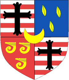 Arms of Leveson-Gower, Earl Granville: Quarterly 1st & 4th barry of eight argent and gules a cross flory sable (Gower); 2nd: azure, three laurel leaves or (Leveson); 3rd: Gules, three clarions or (Granville)[24]