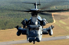 An MH-53 Pave Low helicopter at Hurlburt Field, Florida