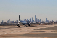 Manhattan Skyline seen from John F. Kennedy Airport