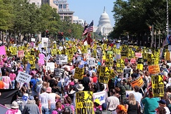 Protesters marching down Pennsylvania Avenue during the September 15, 2007 anti-war protest.
