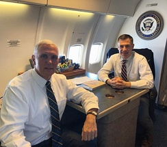 Banks with Vice President Mike Pence in 2018