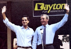 Dayton campaigning with former VP Walter Mondale.