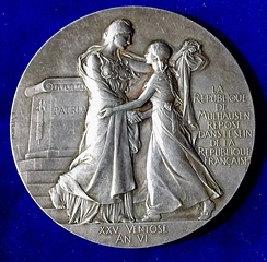 Mulhouse joining Alsace 100th anniversary medal 1898 by Frédéric Vernon, obverse.