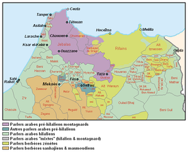 Ethno-linguistic map of northern Morocco: Pre-Hilalian speaking areas in purple (Mountain Arabic) and blue (old urban, village).