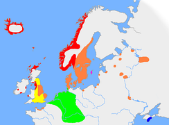 The approximate extent of Germanic languages in northern Europe in the early 10th century:   Old West Norse   Old East Norse   Old Gutnish   Old English   Continental West Germanic (Old Frisian, Old Saxon, Old Dutch, Old High German).   Crimean Gothic (East Germanic)