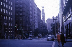 Martin Place, now a busy pedestrian mall, pictured in 1968 when it was open to traffic.