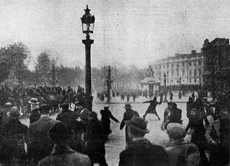 Rioters attacking mounted police with projectiles outside the Place de la Concorde during the crisis.