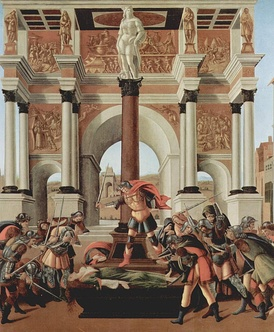 Botticelli's Death of Lucretia (c. 1500): in Roman legend, Lucretia's rape and suicide brought about the overthrow of the monarchy and the formation of the Roman Republic