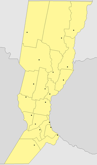 Simplified political map of Santa Fe Province, showing departmental borders and head towns