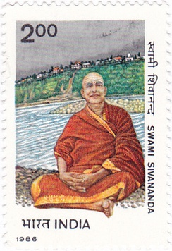 Sivananda on a 1986 stamp of India