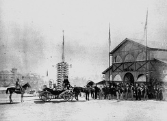 Governor's party arriving at the Queensland Intercolonial Exhibition, 1876