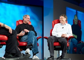 Bill Gates and Steve Jobs at the fifth D: All Things Digital conference (D5) in 2007