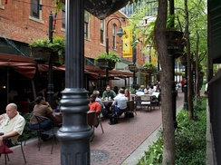 Stone Street Gardens is lined with bistros, pubs and restaurants connecting Main to Elm Streets in Downtown Dallas