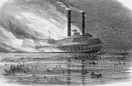 The Sultana on fire, from Harpers Weekly