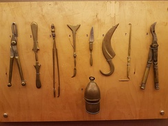 Surgical tools, 5th century BC. Reconstructions based on descriptions within the Hippocratic corpus. Thessaloniki Technology Museum