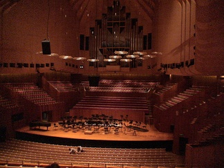 The Sydney Opera House's Concert Hall is an example of a large indoor classical music venue. It is home of the Sydney Symphony Orchestra. The rest of the building contains other amenities common at such music venues, such as cafés, restaurants, bars and retail outlets.