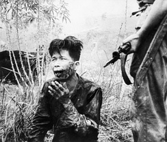 A wounded insurgent being held and questioned after his capture in 1952